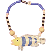 Wonderful RUBY Z / CANDACE LOHEED Ceramic Tropical Fish Necklace
