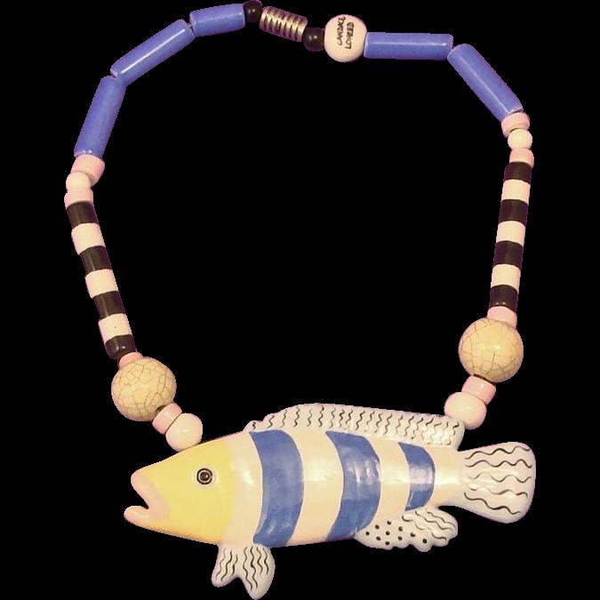 Wonderful RUBY Z / CANDACE LOHEED Ceramic Tropical Fish Necklace