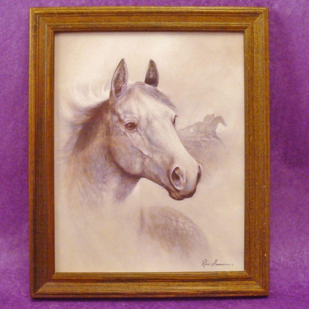 Framed Horse ~ Equine 1993 Ruane Manning Lithograph