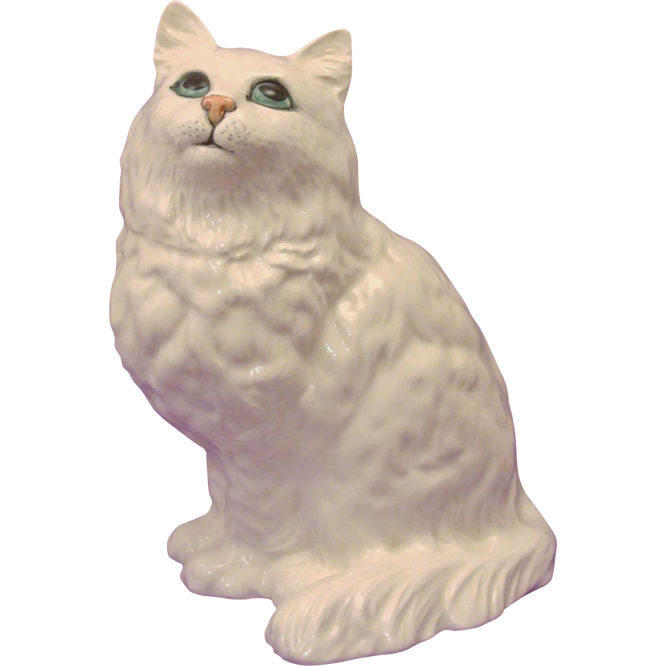Delightful Beswick Seated Cat Looking Up ~ White Long Coated Kitty