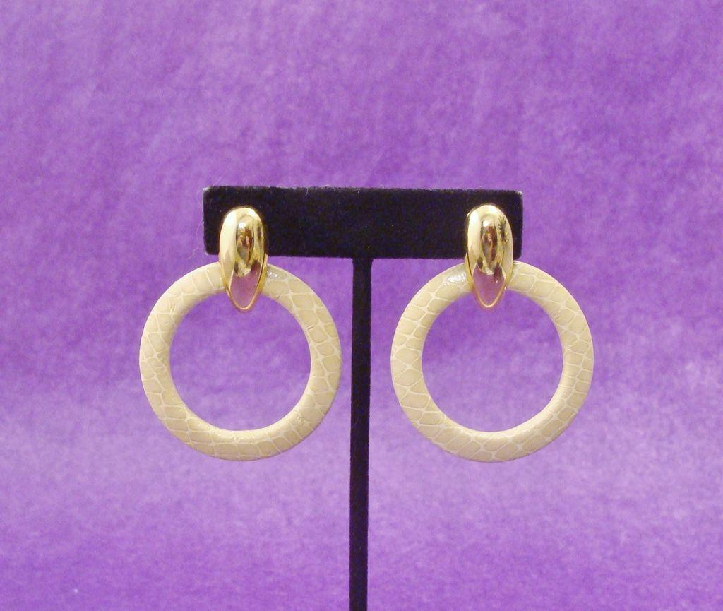 Vintage 1980's Signed ASTOR Faux Snakeskin Hoop Earrings