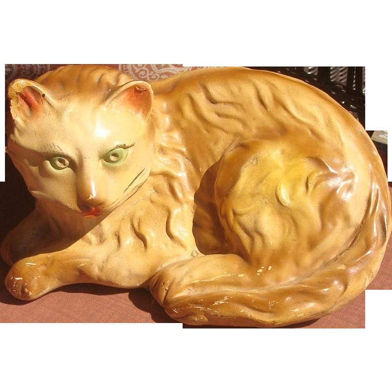 Life Size 1920's Chalkware Reclining Tabby Kitty Cat