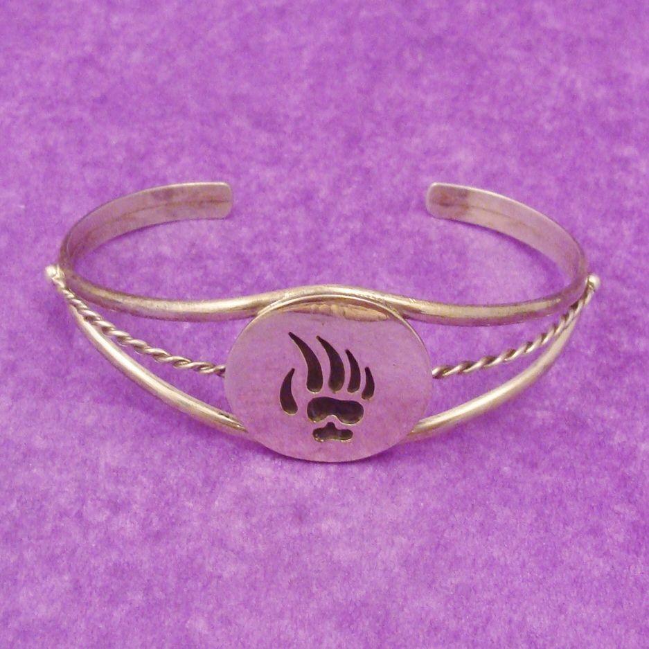 Signed RODNEY LEE GUERRO Bear Paw Silver Cuff Bracelet