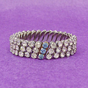 Unique Flexible Stretch Clear Prong Set Rhinestone Triple Row Bracelet with Blue Rhinestone Row