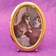 Brass Oval Framed Kitten In a Mirror Print Under Glass
