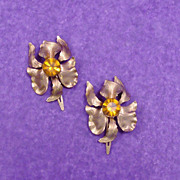 Orchid Flower Lady Ellen Signed Hair KLIPPIES or Pins with Huge Center Stone