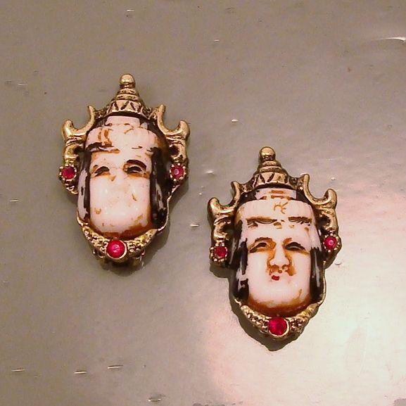 Vintage Asian ~ Oriental White Glass Face Mask Earrings