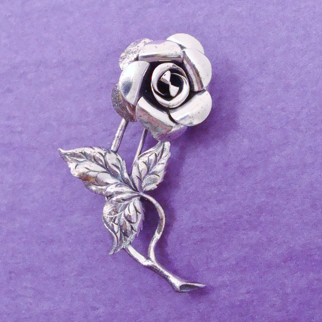 BEAU Sterling Silver Rose Pin