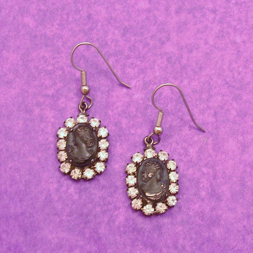 Vintage Marie Ferrá Black Stone Cameo with Rhinestone Frame Earrings