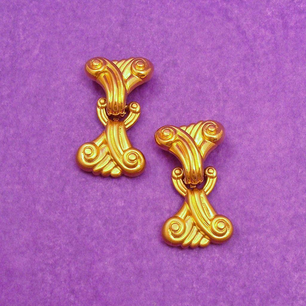 Massive 1980's Signed DIVA Satin Gold Tone Finish Door Knocker Earrings