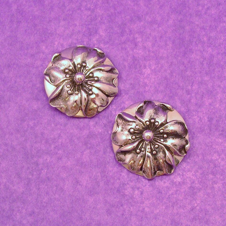 Whiting & Davis Dogwood Flower Earrings