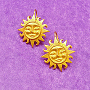 Celestial Smiling Sun Satin Finished Earrings