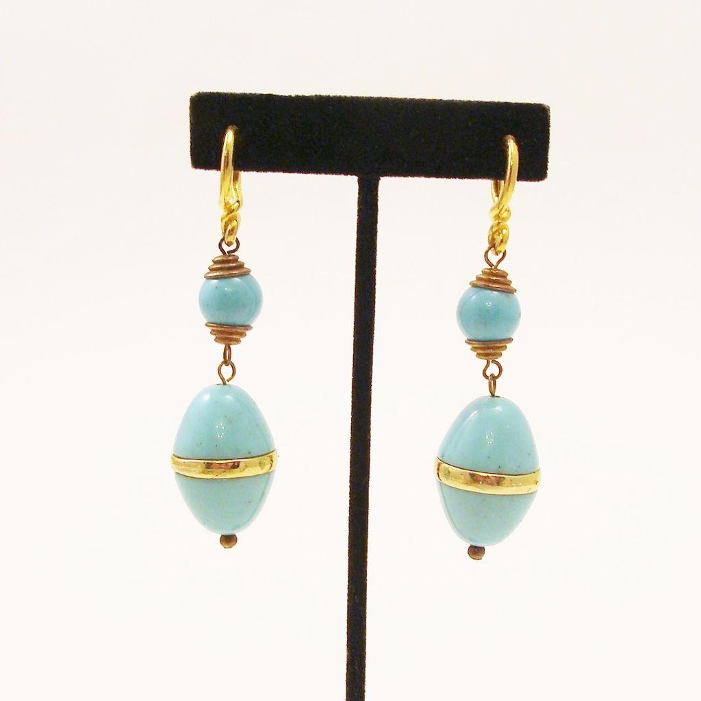 Bold Speckled Robins Egg & Gold Tone Dangle Earrings
