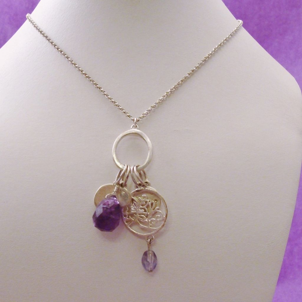 Charm Cluster Necklace in Silver Tone with Purple Accents