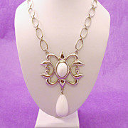 Huge Silver Tone Link & White Cabochon Necklace