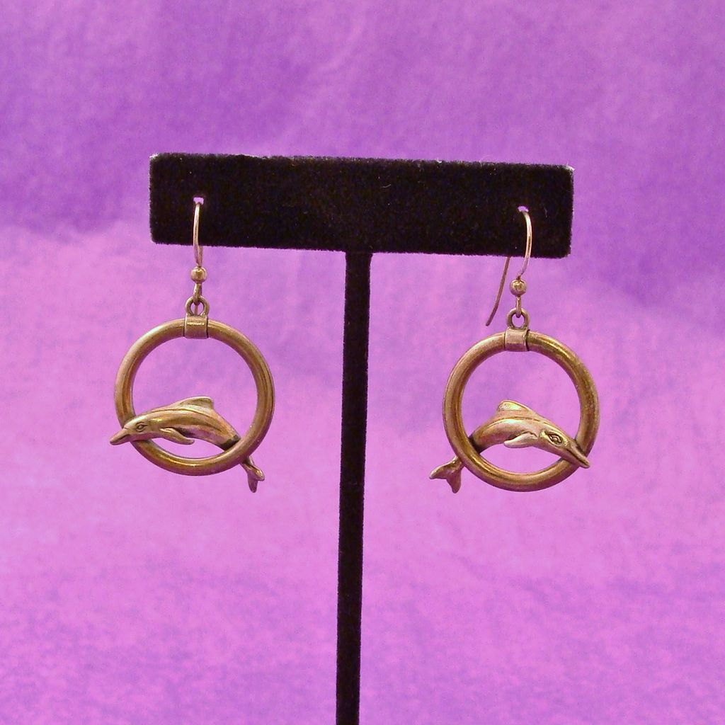 Sterling Silver Leaping Dolphin Earrings Signed KBN