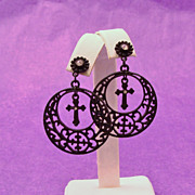 Gothic Black Metal Cross & Rhinestones Dangle Hoop Earrings
