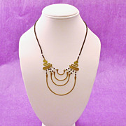 Egyptian Revival Beaded & Brass Necklace
