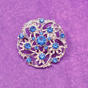 Stunning Blue Crystal Rhinestones in Silver Tone Pin
