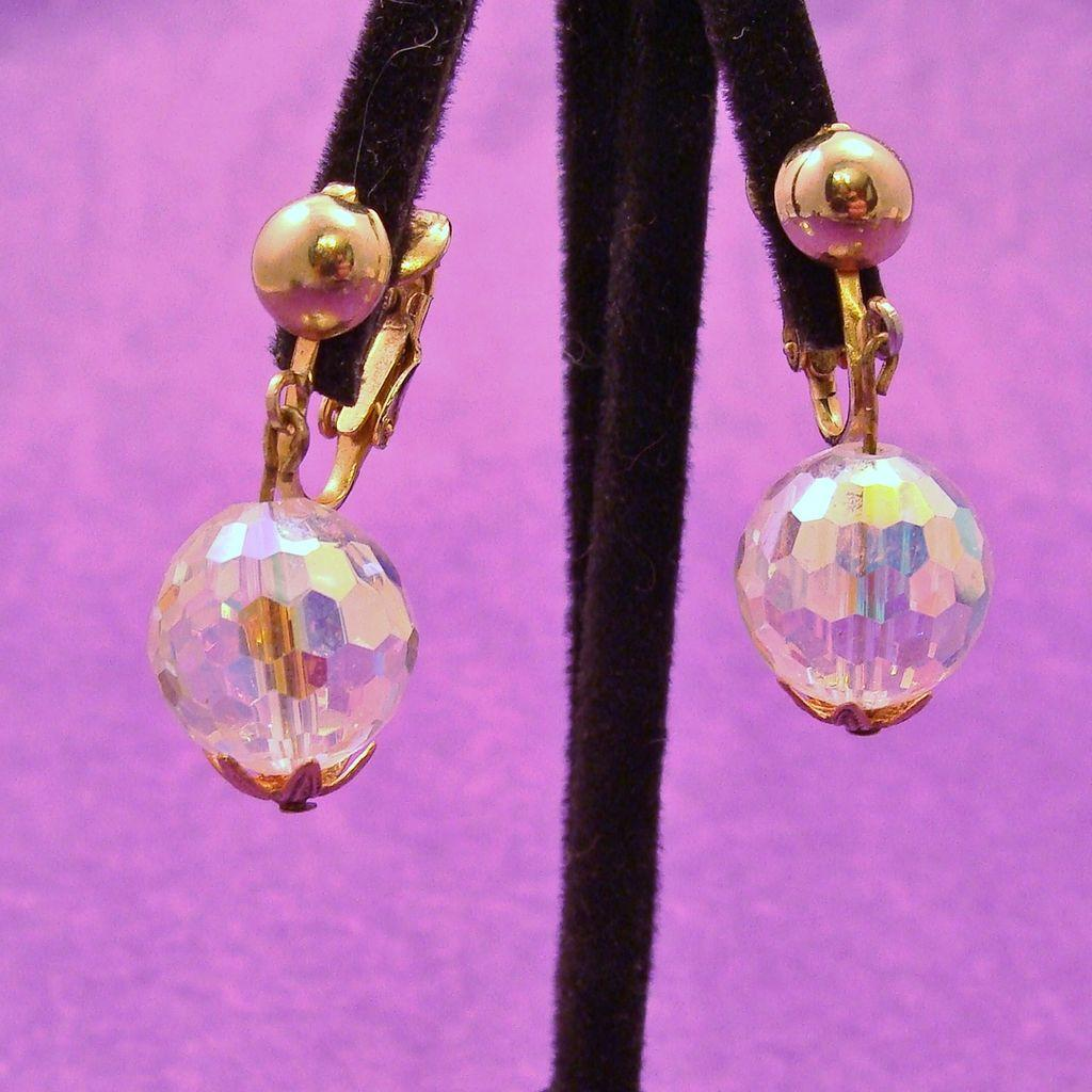 Faceted Glass Prism Ball Earrings