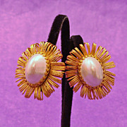 Brilliant HOBE Signed Faux Baroque ~ Blister Pearl Earrings