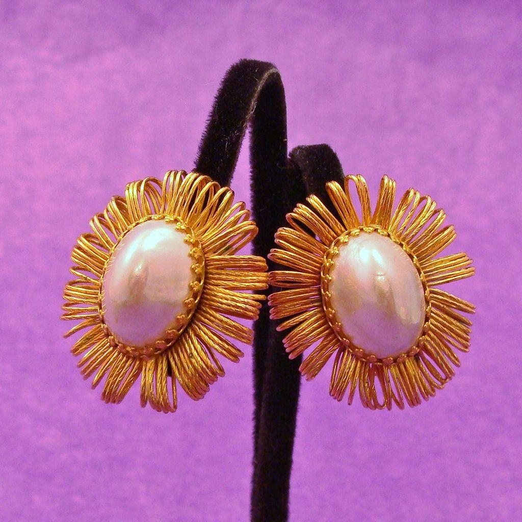 Brilliant HOBE Signed Faux Baroque ~ Blister Pearl Earrings