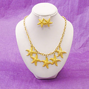 Detailed Starfish Collection of Earrings and Necklace