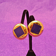 Designer Signed ST. JOHN Polished Gold Tone & Purple Enamel Earrings