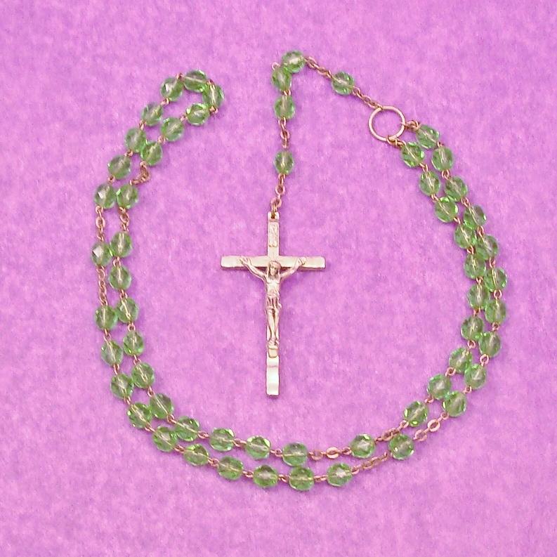 Bright Green Glass Bead Italian Crucifix
