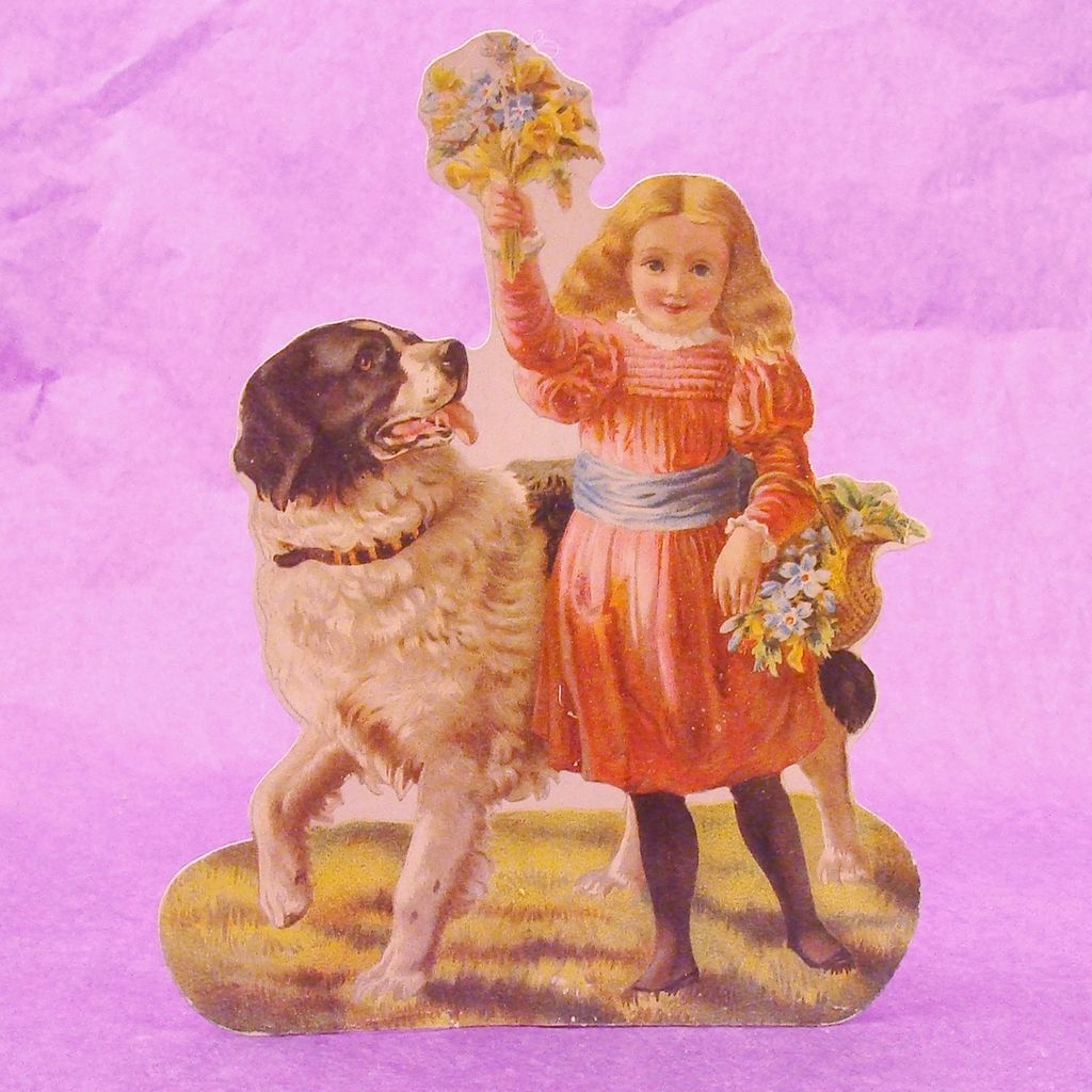 The Winslow Papers Newfoundland ~ Saint Bernard Dog & Girl Die Cut