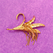 Signed Kramer Satin Textured Gold Tone Flower Pin with Lots of Tassels