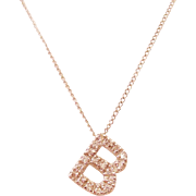 Simple & Elegant Sterling Silver & Cubic Zirconia Initial Letter B Necklace