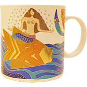 "1989 Laurel Burch ""The Sea Goddess"" Mug"