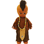 Vintage Indian ~ Native American Indian Doll in Original Suede Costume with Beaded Necklace & Highlights