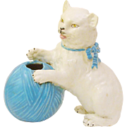 Adorable Majolica Playful White Kitten ~ Cat with Ball of Yarn