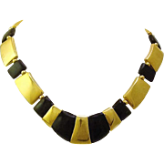 Vintage Early 1990's Napier Signed Geometric Gold & Black Collar Necklace