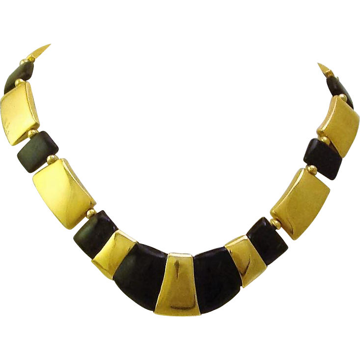 Vintage 1980's Napier Signed Egyptian Inspired Gold Plate & Black Collar Necklace
