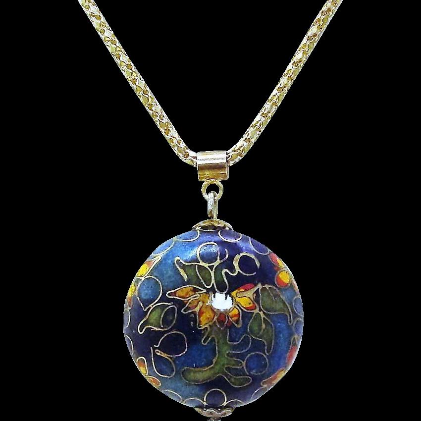 Bright & Colorful Cloisonne Flower Pendant Necklace