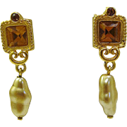 Sparkling Danecraft Rhinestone & Faux Baroque Drop Pearl Earrings