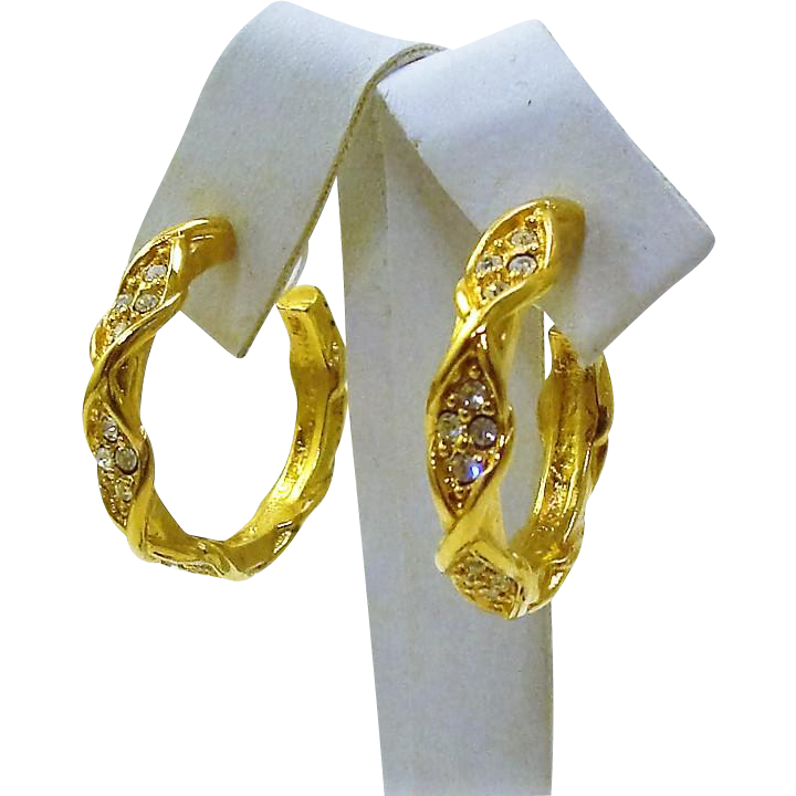 "Vintage 1995 Elizabeth Taylor for Avon ""Sparkle Kiss"" Gold Plated Rhinestone Hoop Earrings"