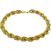 Vintage Napier Thick Rope Gold Plated Necklace
