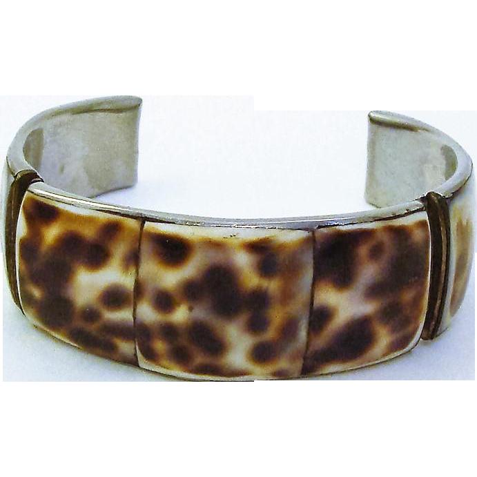 Stunning Natural Tiger Shell Cuff Bracelet