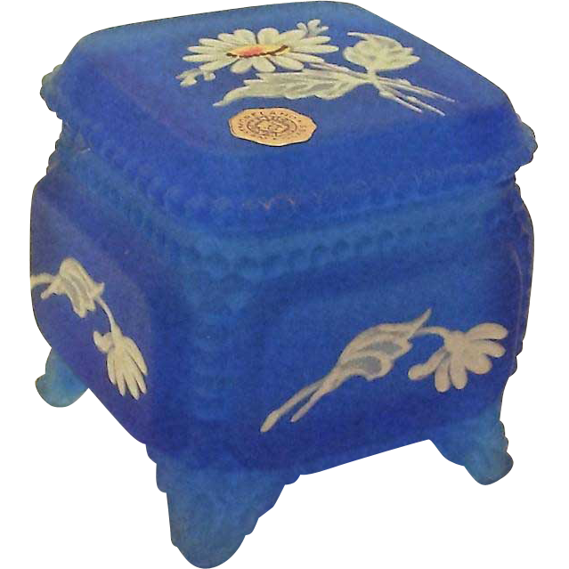 Westmoreland Glass Frosted Blue Footed Trinket Box with Lid