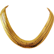 1970's - 1980's Chunky Thick Gold Tone Gas pipe Flexible Snake Necklace