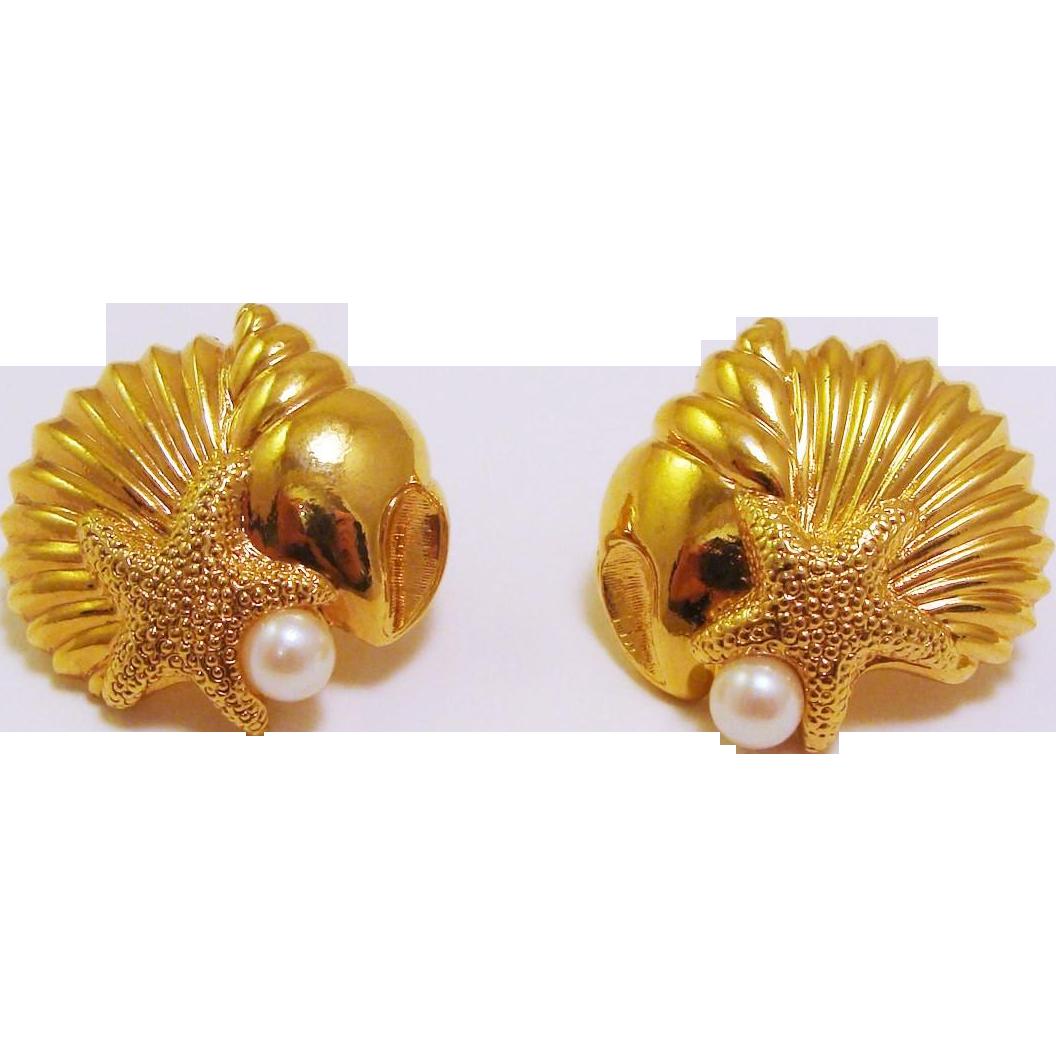 Nautical Seashell, Conch, Starfish & Faux Pearl Earrings
