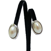 RICHELIEU Designer Signed Silver Plated Oval Faux Pearl Clip Earrings