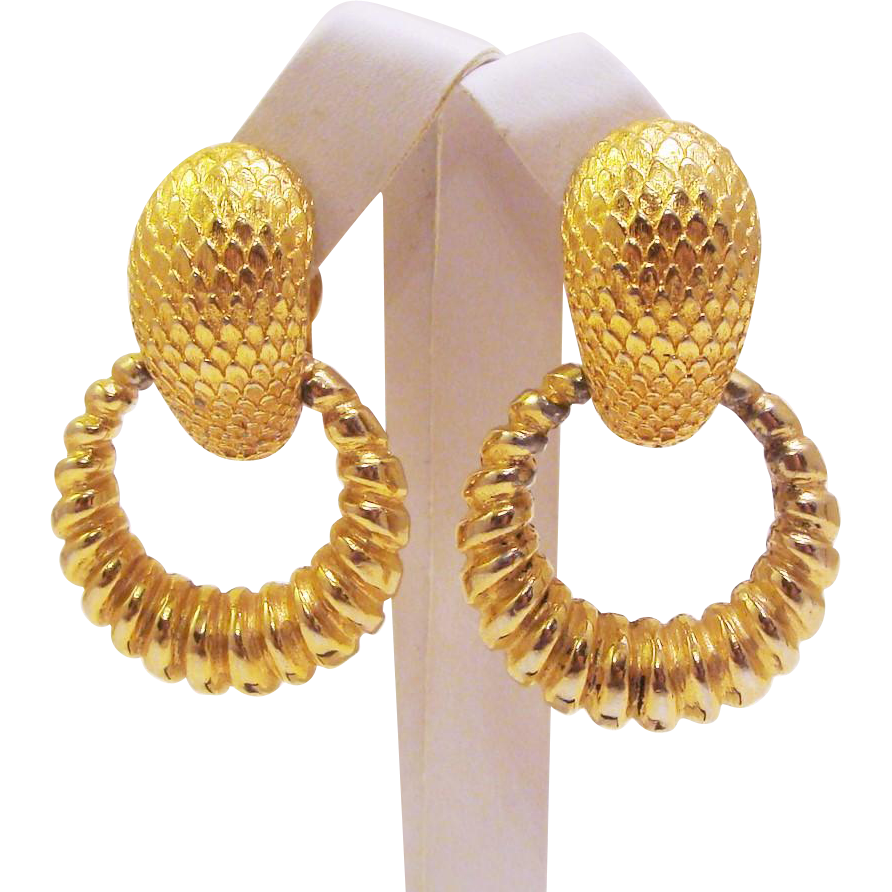 Chunky Bold Gold Tone Textured ROBERT Signed Earrings