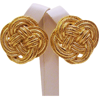 Bold Couture GIVENCHY Paris New York Gold Plated Rope Knot Earrings