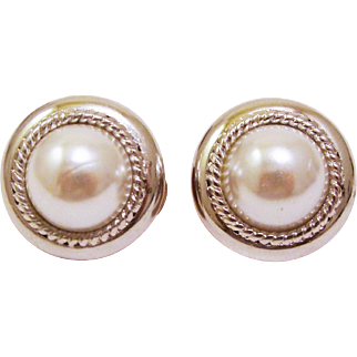 Classic Signed NORDSTROM Faux Pearl Cabochon Earrings in Silver Tone Frame Work