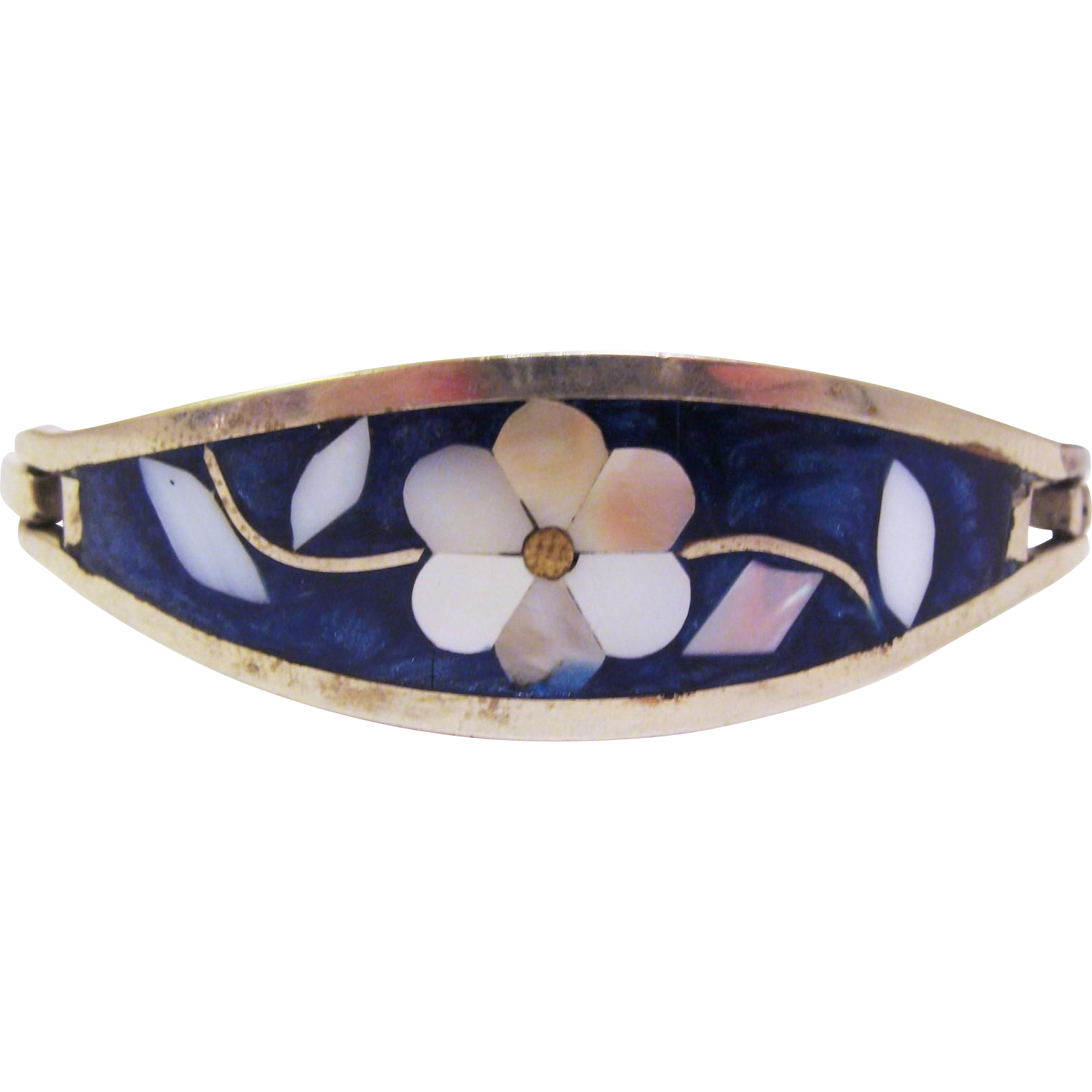 Sterling Silver Rigid Cuff Bracelet with Inlay Mother of Pearl Flower